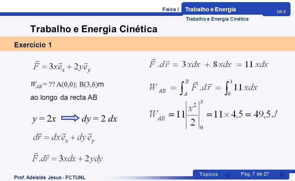 Física I Trabalho e Energia UA 6 Tópicos Prof. Adelaide Jesus - FCTUNL Pág. 7 de 27 Trabalho e Energia Cinética Exercício 1 W AB = ?? A(0,0); B(3,6) m