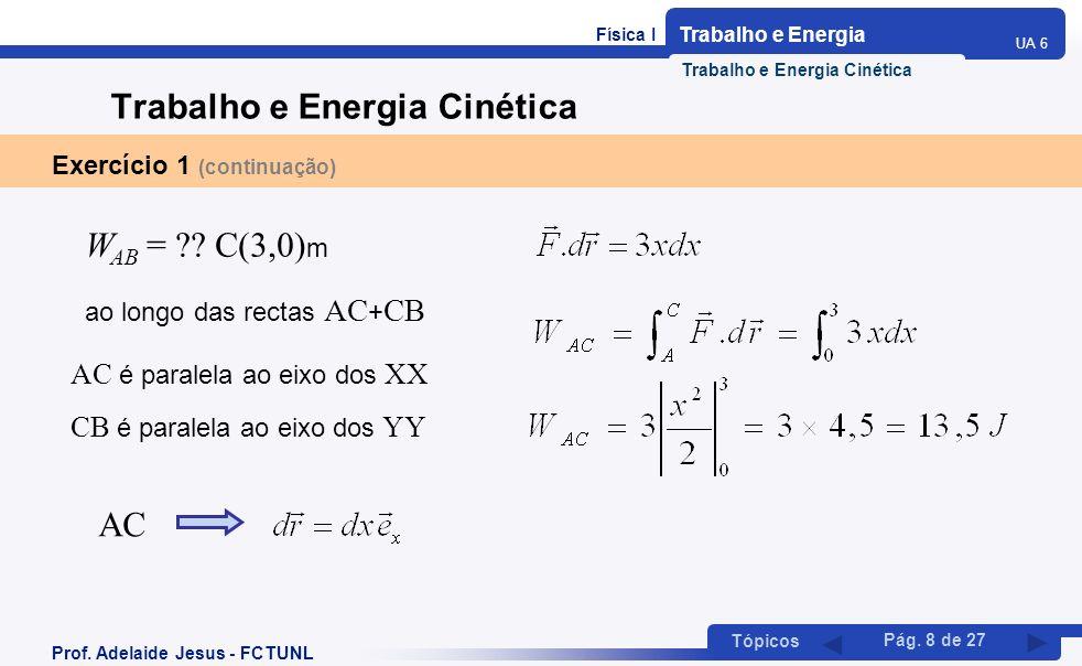 Física I Trabalho e Energia UA 6 Tópicos Prof. Adelaide Jesus - FCTUNL Pág. 8 de 27 Trabalho e Energia Cinética Exercício 1 (continuação) W AB = ?? C(