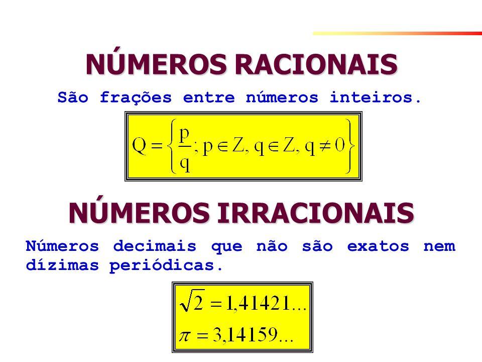 NÚMEROS RACIONAIS São frações entre números inteiros. NÚMEROS IRRACIONAIS Números decimais que não são exatos nem dízimas periódicas.
