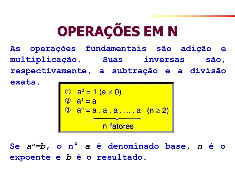 OPERAÇÕES EM N As operações fundamentais são adição e multiplicação. Suas inversas são, respectivamente, a subtração e a divisão exata. Se a n =b, o n