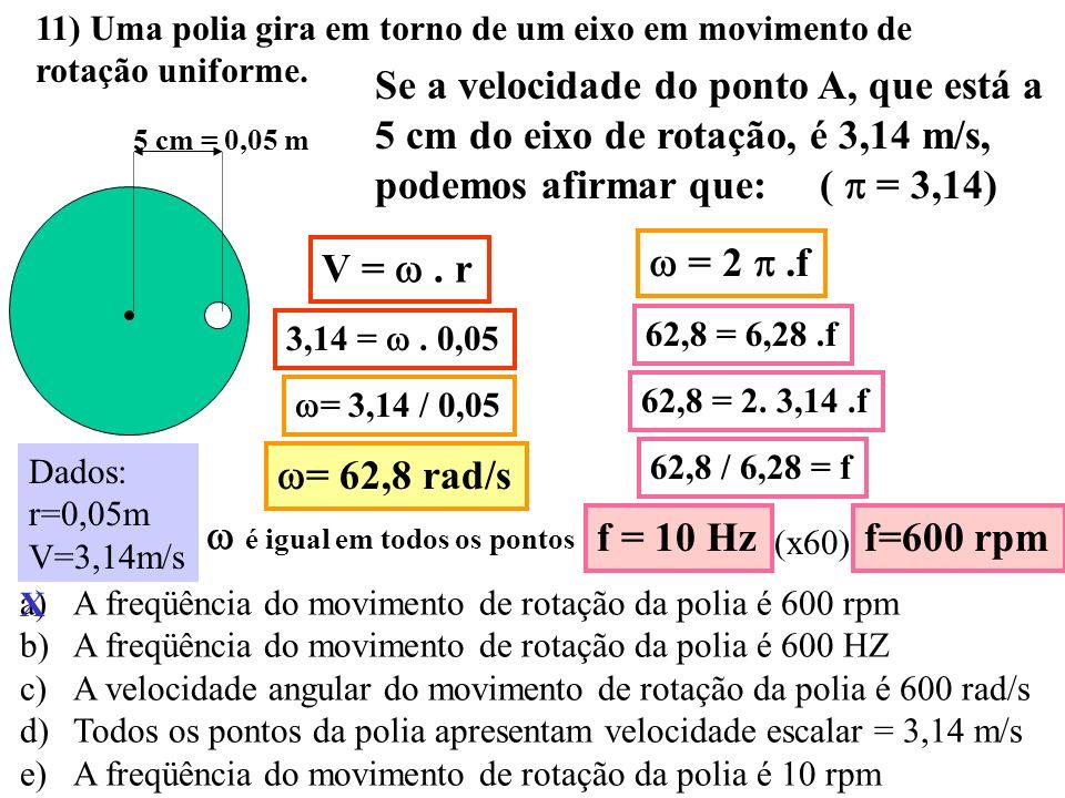 10) Uma espaçonave desloca-se com velocidade constante de 10³ m/s. Acionando-se seu sistema de aceleração durante 10 s, sua velocidade aumenta uniform