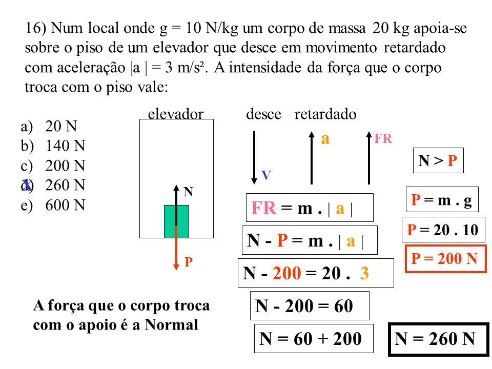 15) Um corpo de massa 100g desliza sobre um plano horizontal sem atrito em MCU preso por meio de um fio de comprimento 20 cm a um ponto fixo. r = 0,20