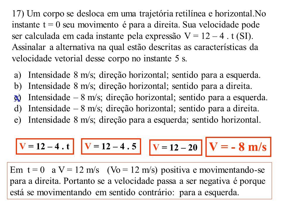 16) Num local onde g = 10 N/kg um corpo de massa 20 kg apoia-se sobre o piso de um elevador que desce em movimento retardado com aceleração |a | = 3 m