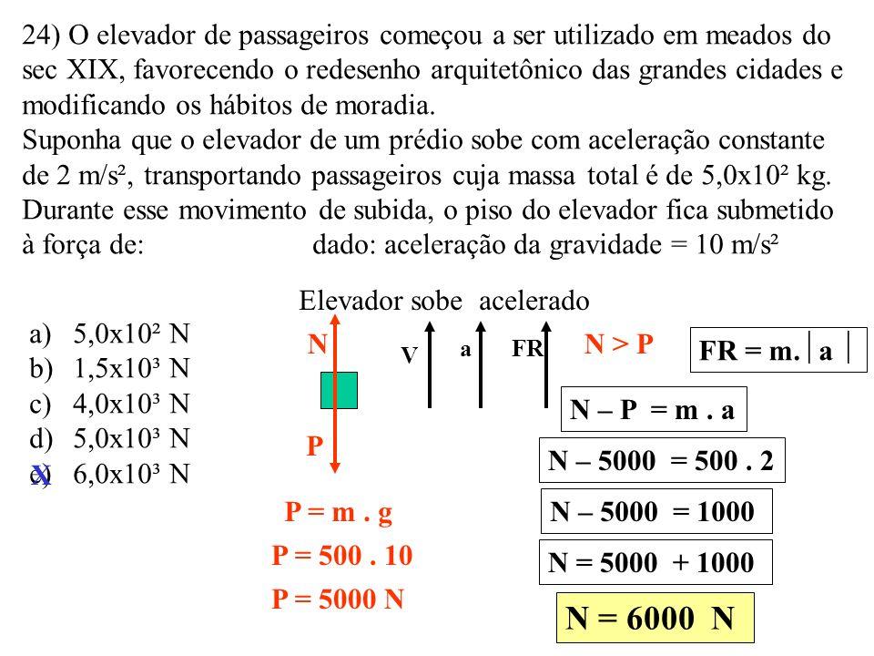 23) Uma partícula de massa igual a 10 kg é submetida a ação de duas forças perpendiculares entre si de 3N e 4N. Pode se afirmar que o módulo de sua ac