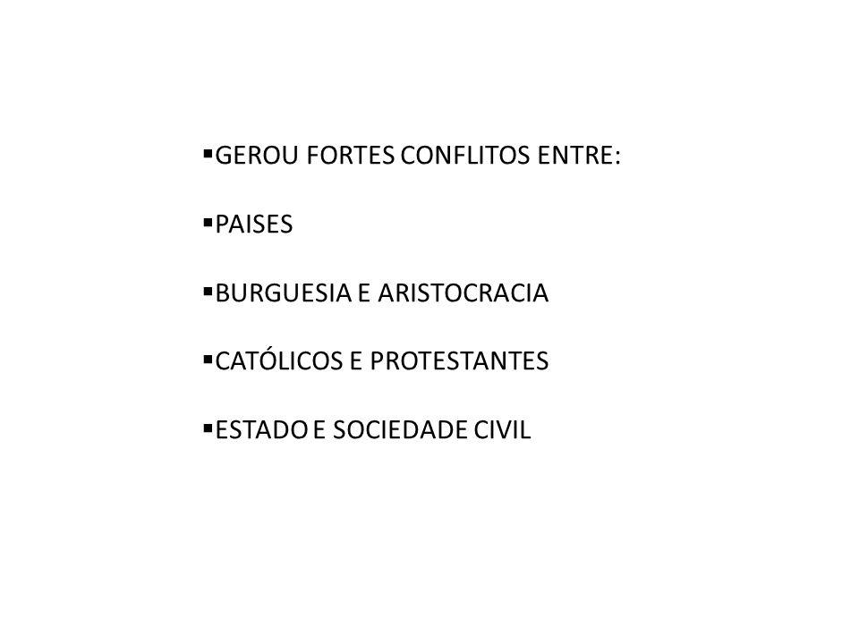 GEROU FORTES CONFLITOS ENTRE: PAISES BURGUESIA E ARISTOCRACIA CATÓLICOS E PROTESTANTES ESTADO E SOCIEDADE CIVIL