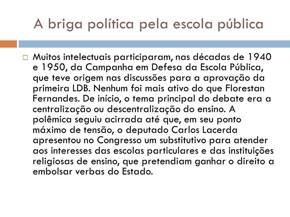 A briga política pela escola pública Muitos intelectuais participaram, nas décadas de 1940 e 1950, da Campanha em Defesa da Escola Pública, que teve o