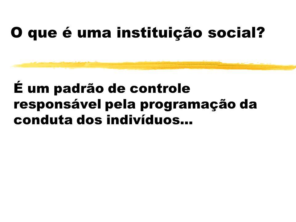O que é uma instituição social? É um padrão de controle responsável pela programação da conduta dos indivíduos...