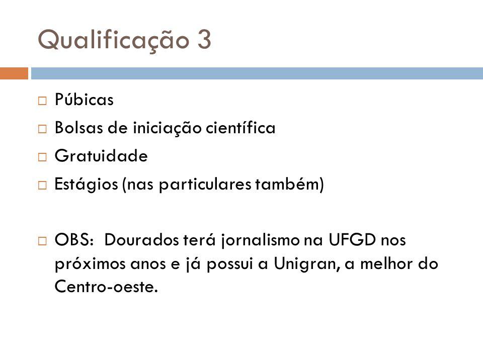 Qualificação 3 Púbicas Bolsas de iniciação científica Gratuidade Estágios (nas particulares também) OBS: Dourados terá jornalismo na UFGD nos próximos
