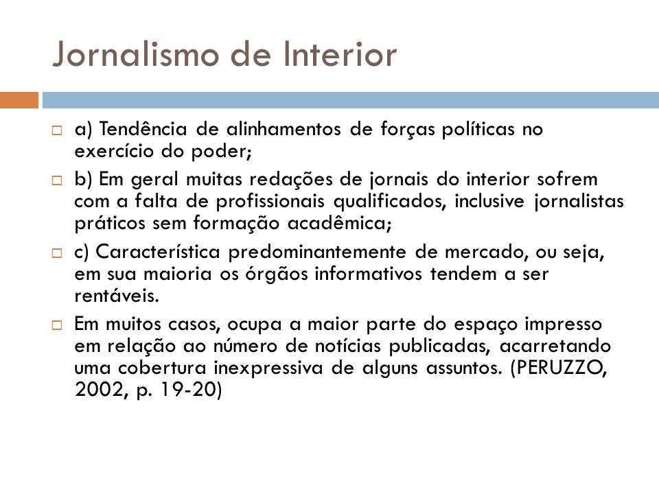 Jornalismo de Interior a) Tendência de alinhamentos de forças políticas no exercício do poder; b) Em geral muitas redações de jornais do interior sofr