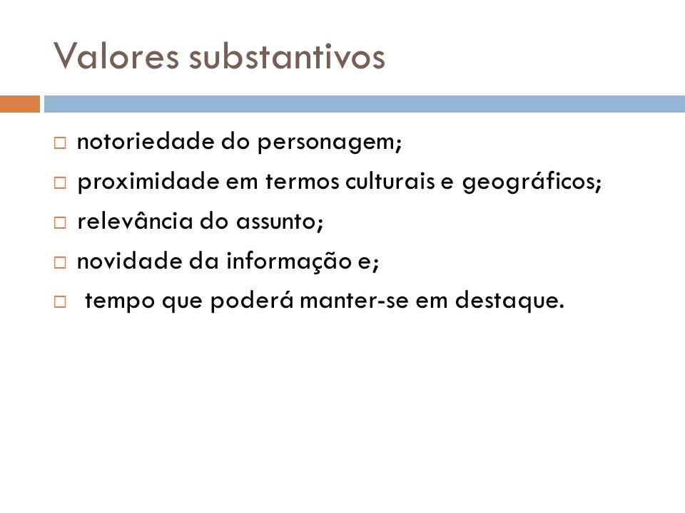 Valores substantivos notoriedade do personagem; proximidade em termos culturais e geográficos; relevância do assunto; novidade da informação e; tempo