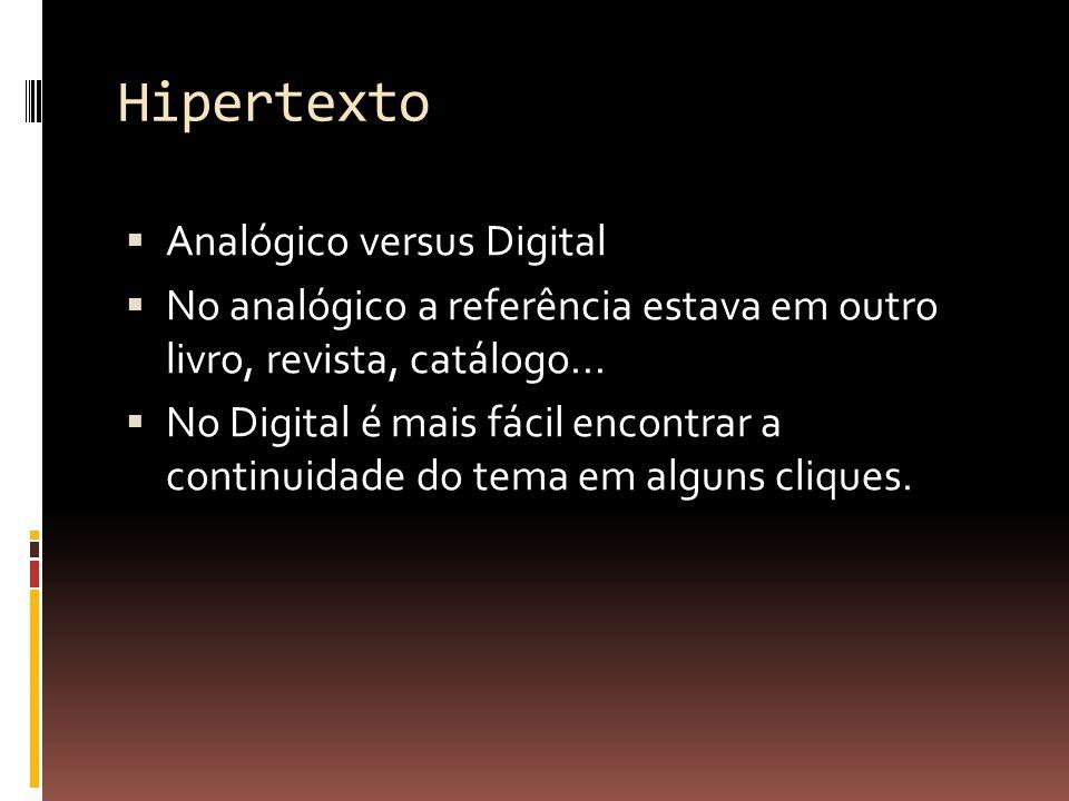 Hipertexto Ele nasce junto com a criação do termo World Wide Web (notem que o termo está lincado ou linkado).
