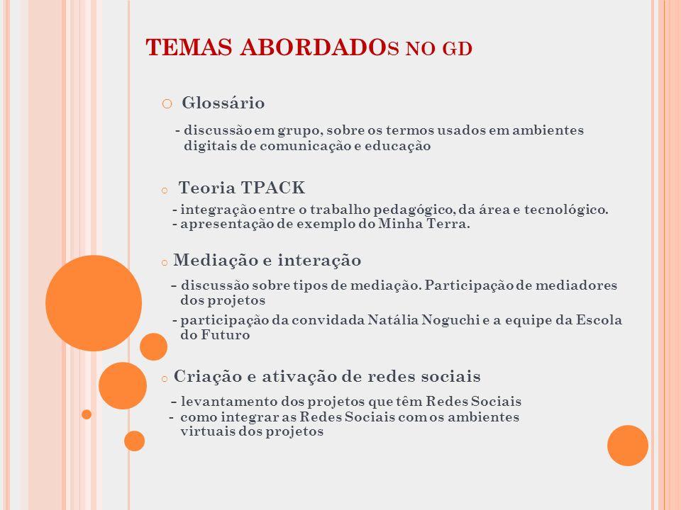 TEMAS ABORDADO S NO GD o Glossário - discussão em grupo, sobre os termos usados em ambientes digitais de comunicação e educação o Teoria TPACK - integ