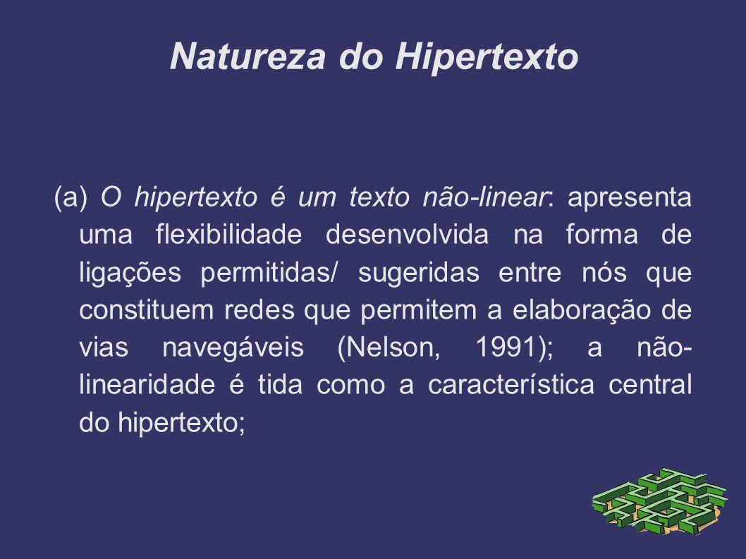 Natureza do Hipertexto (a) O hipertexto é um texto não-linear: apresenta uma flexibilidade desenvolvida na forma de ligações permitidas/ sugeridas ent