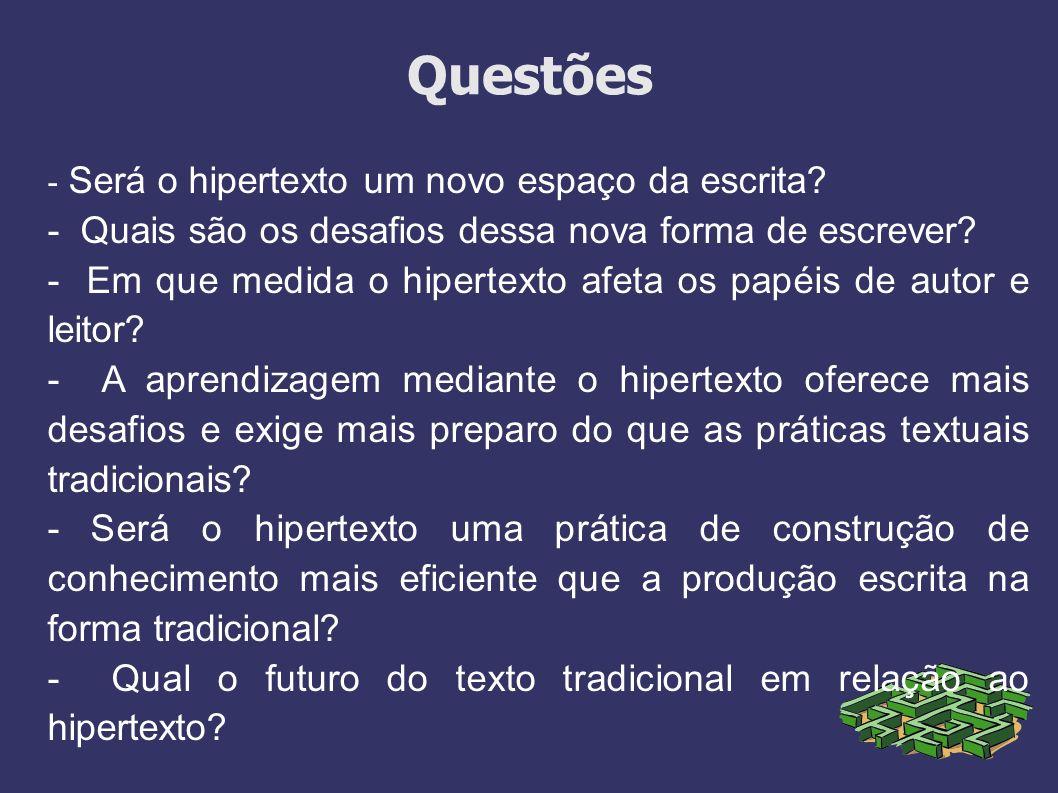 Questões - Será o hipertexto um novo espaço da escrita? - Quais são os desafios dessa nova forma de escrever? - Em que medida o hipertexto afeta os pa
