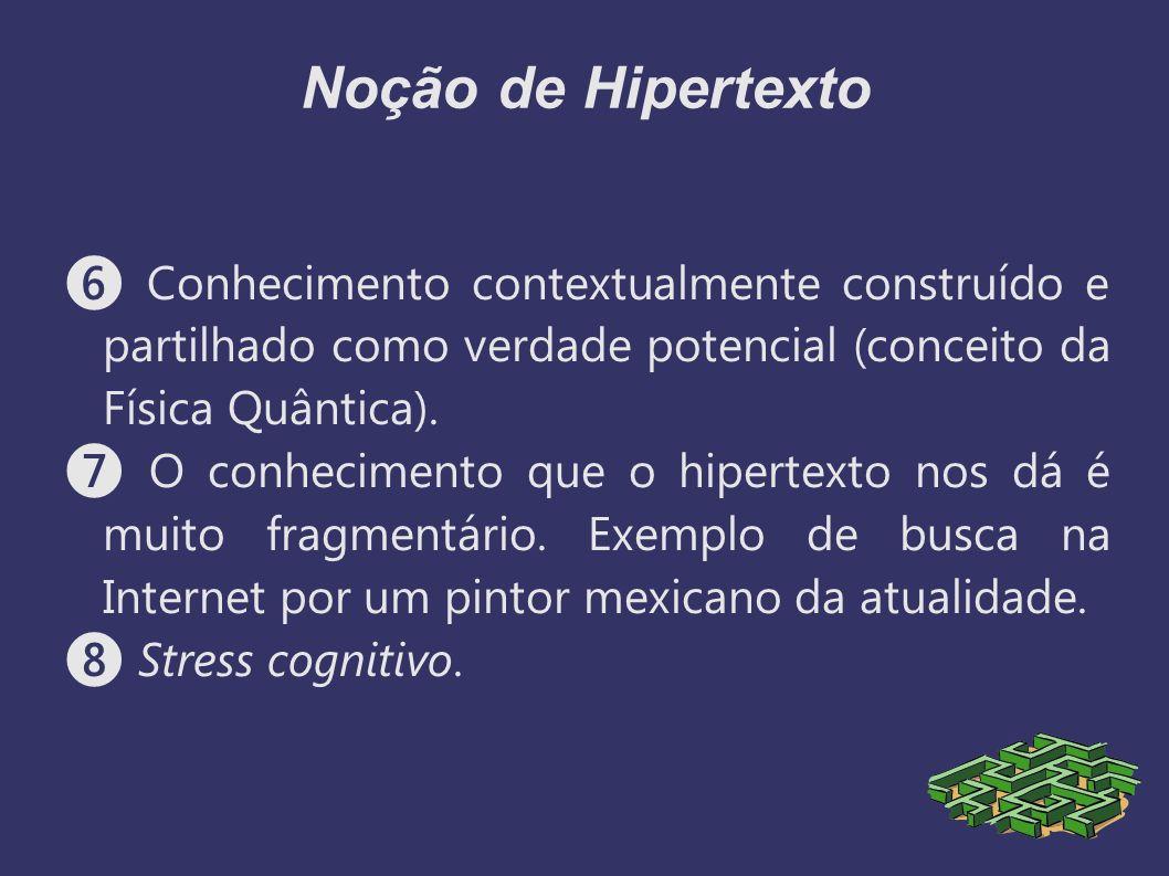 Noção de Hipertexto Conhecimento contextualmente construído e partilhado como verdade potencial (conceito da Física Quântica). O conhecimento que o hi