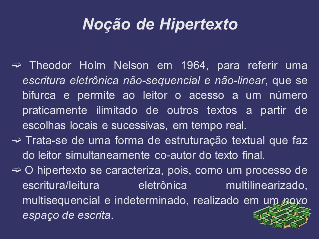 Noção de Hipertexto Theodor Holm Nelson em 1964, para referir uma escritura eletrônica não-sequencial e não-linear, que se bifurca e permite ao leitor
