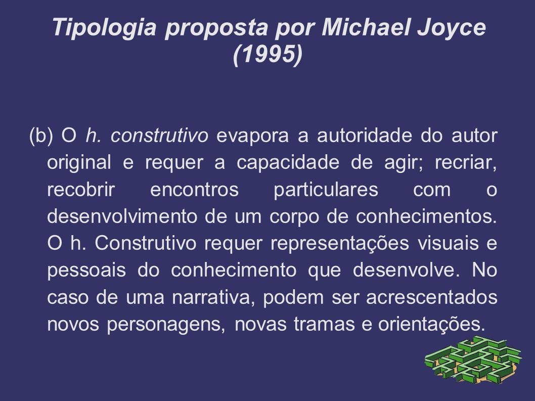 Tipologia proposta por Michael Joyce (1995) (b) O h. construtivo evapora a autoridade do autor original e requer a capacidade de agir; recriar, recobr