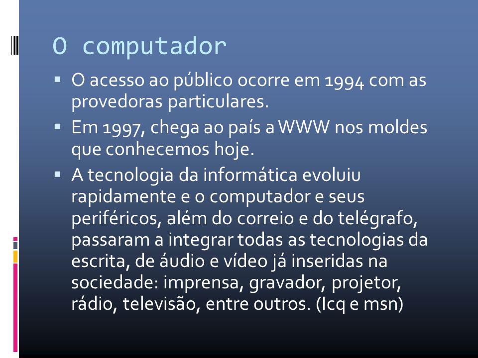 O computador O acesso ao público ocorre em 1994 com as provedoras particulares.