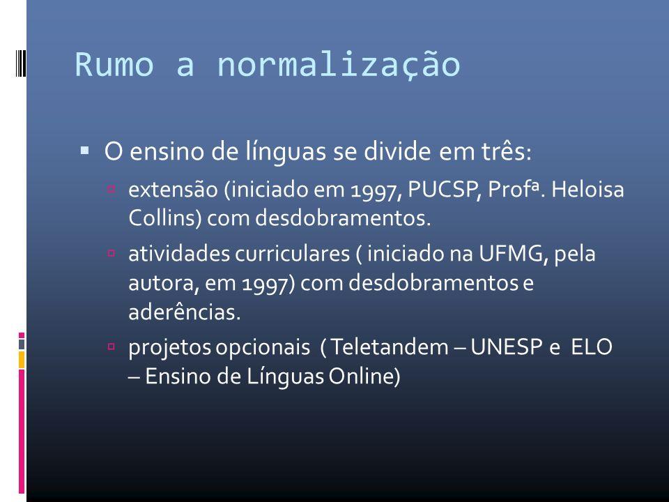 Rumo a normalização O ensino de línguas se divide em três: extensão (iniciado em 1997, PUCSP, Profª.