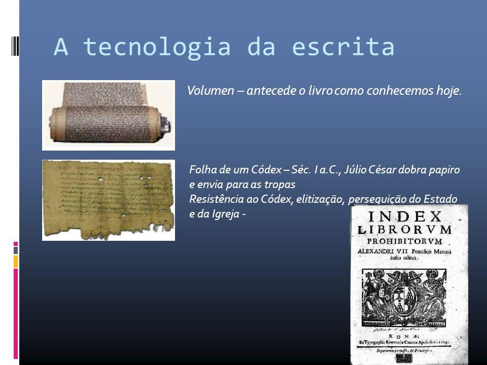 A tecnologia da escrita Volumen – antecede o livro como conhecemos hoje.