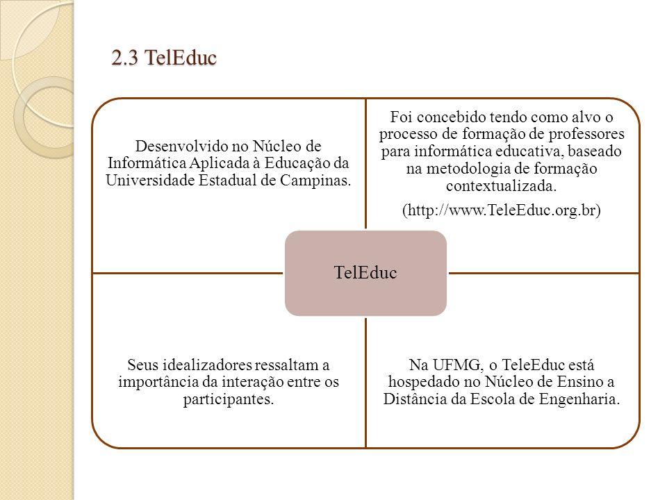 2.3 TelEduc Desenvolvido no Núcleo de Informática Aplicada à Educação da Universidade Estadual de Campinas. Foi concebido tendo como alvo o processo d