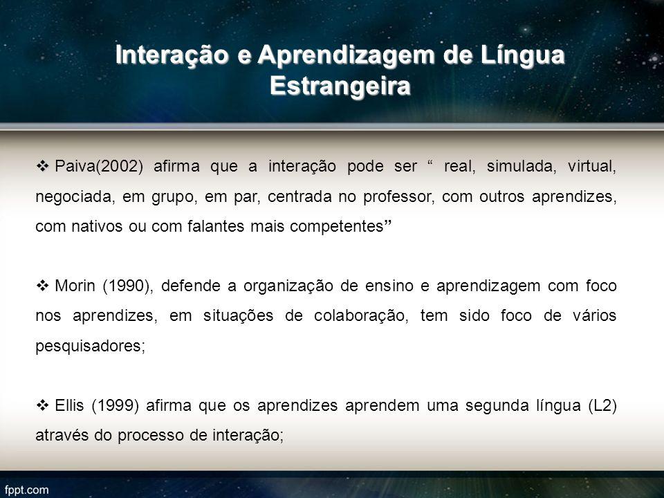 Paiva(2002) afirma que a interação pode ser real, simulada, virtual, negociada, em grupo, em par, centrada no professor, com outros aprendizes, com na