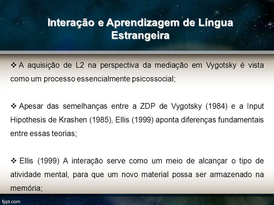A aquisição de L2 na perspectiva da mediação em Vygotsky é vista como um processo essencialmente psicossocial; Apesar das semelhanças entre a ZDP de V
