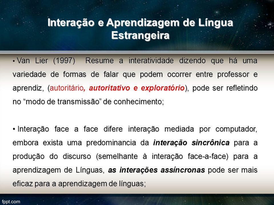 Van Lier (1997) Resume a interatividade dizendo que há uma variedade de formas de falar que podem ocorrer entre professor e aprendiz, (), pode ser ref