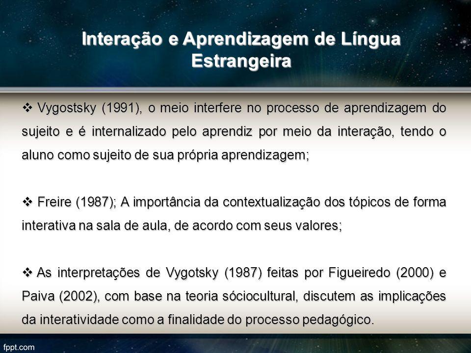 Vygostsky (1991), o meio interfere no processo de aprendizagem do sujeito e é internalizado pelo aprendiz por meio da interação, tendo o aluno como su