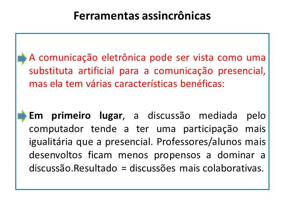 Ferramentas assincrônicas A comunicação eletrônica pode ser vista como uma substituta artificial para a comunicação presencial, mas ela tem várias car