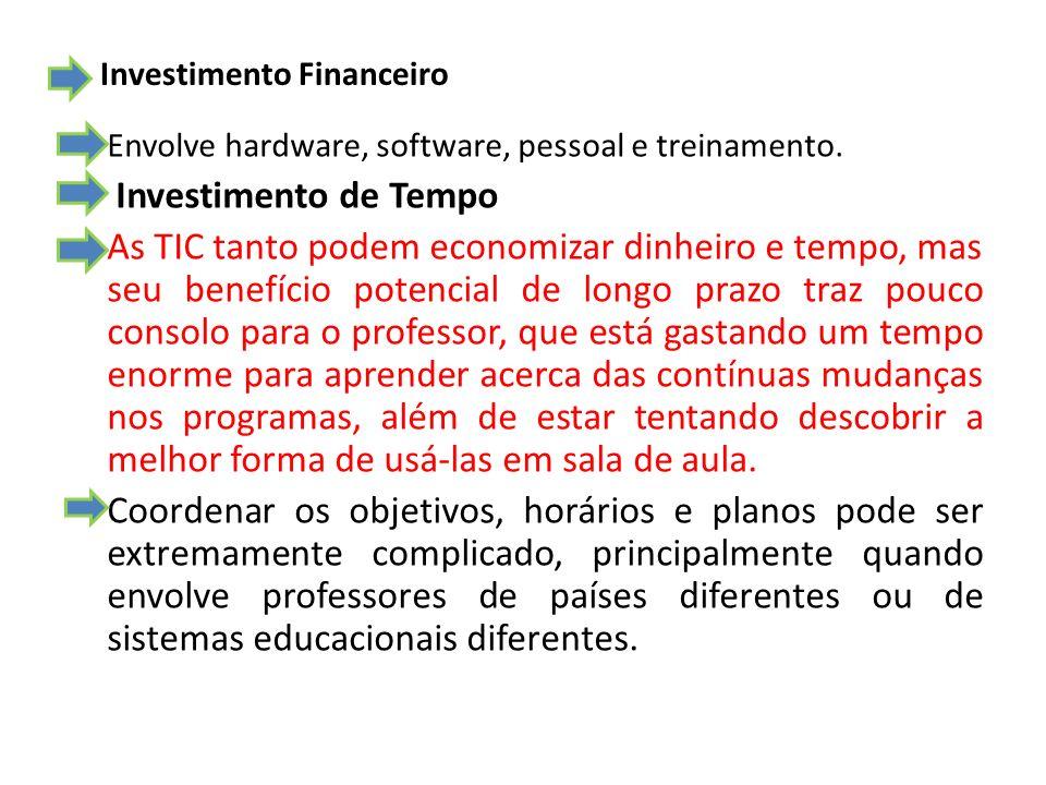 Investimento Financeiro Envolve hardware, software, pessoal e treinamento. Investimento de Tempo As TIC tanto podem economizar dinheiro e tempo, mas s