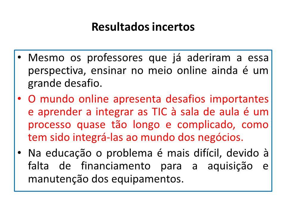 Resultados incertos Mesmo os professores que já aderiram a essa perspectiva, ensinar no meio online ainda é um grande desafio. O mundo online apresent