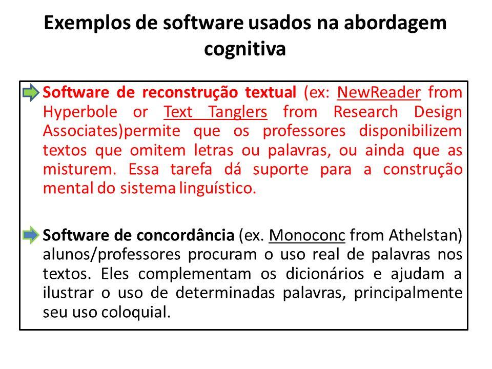 Exemplos de software usados na abordagem cognitiva Software de reconstrução textual (ex: NewReader from Hyperbole or Text Tanglers from Research Desig
