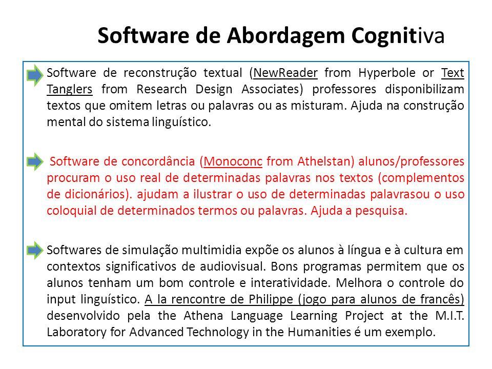 Software de Abordagem Cognitiva Software de reconstrução textual (NewReader from Hyperbole or Text Tanglers from Research Design Associates) professor