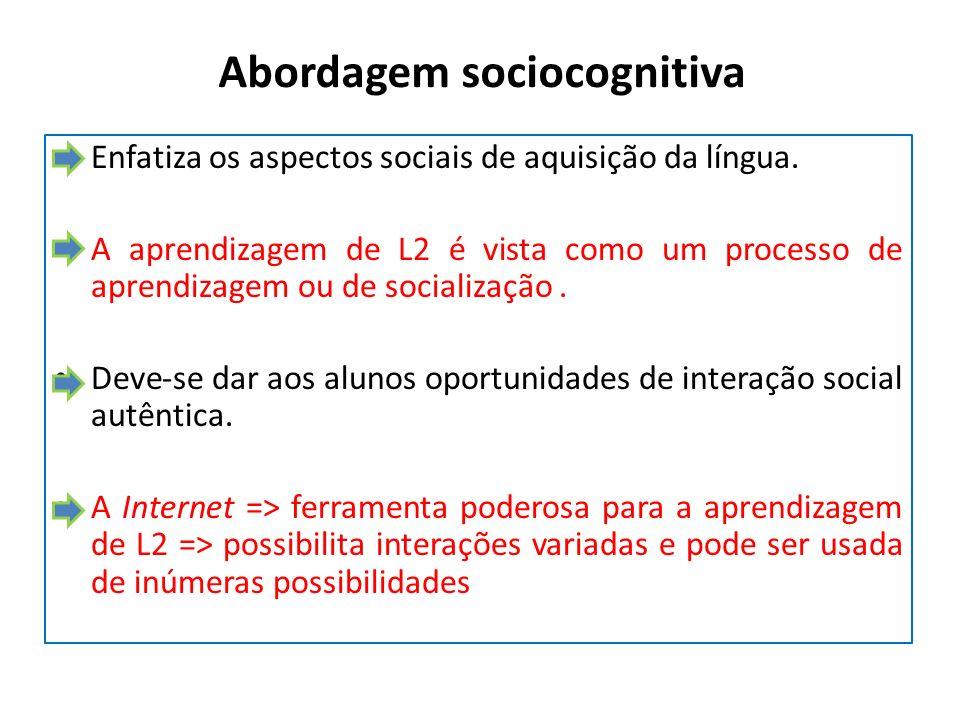 Abordagem sociocognitiva Enfatiza os aspectos sociais de aquisição da língua. A aprendizagem de L2 é vista como um processo de aprendizagem ou de soci