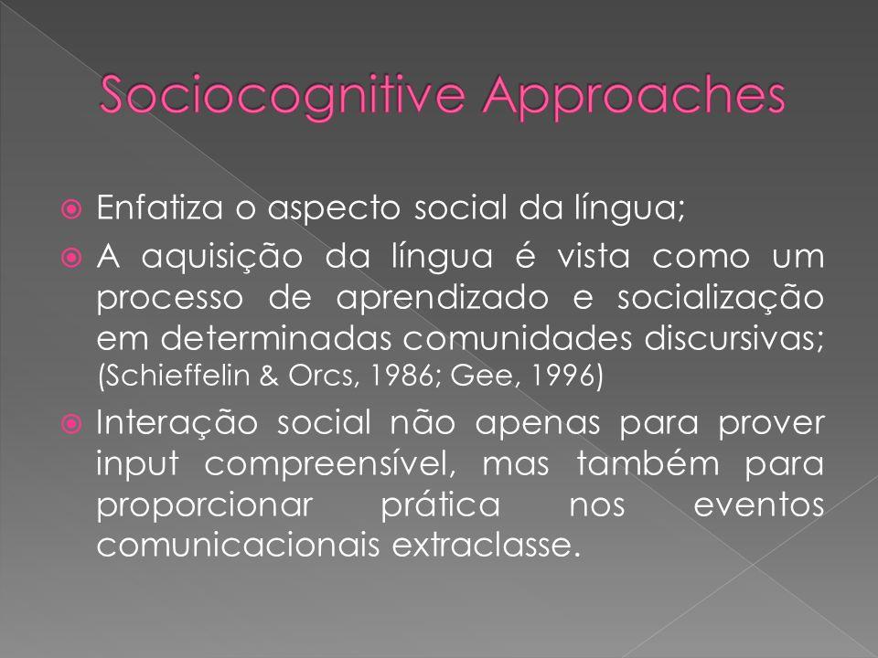 Enfatiza o aspecto social da língua; A aquisição da língua é vista como um processo de aprendizado e socialização em determinadas comunidades discursi