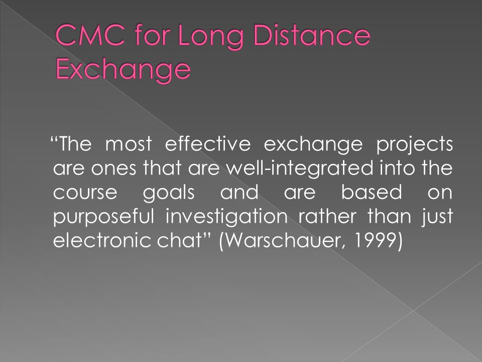 The most effective exchange projects are ones that are well-integrated into the course goals and are based on purposeful investigation rather than jus