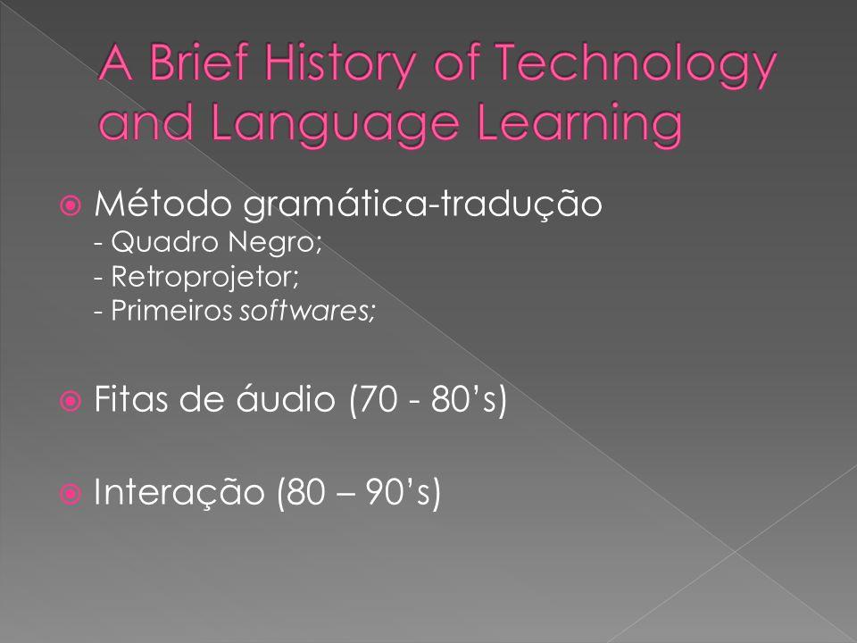 Método gramática-tradução - Quadro Negro; - Retroprojetor; - Primeiros softwares; Fitas de áudio (70 - 80s) Interação (80 – 90s)