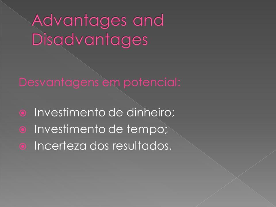 Desvantagens em potencial: Investimento de dinheiro; Investimento de tempo; Incerteza dos resultados.