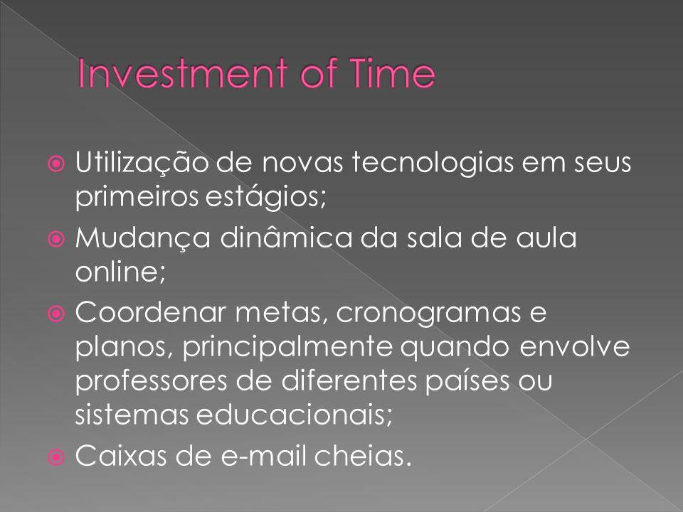 Utilização de novas tecnologias em seus primeiros estágios; Mudança dinâmica da sala de aula online; Coordenar metas, cronogramas e planos, principalm