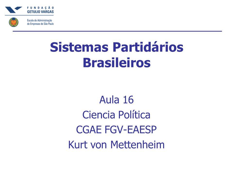 Sistemas Partidários Brasileiros Aula 16 Ciencia Política CGAE FGV-EAESP Kurt von Mettenheim