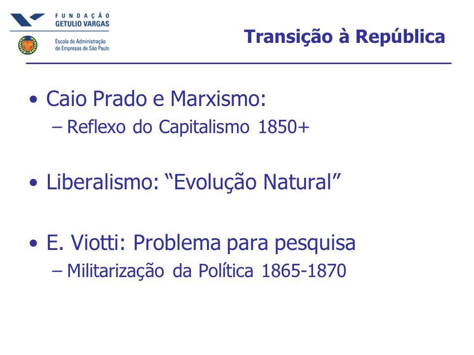 Transição à República Caio Prado e Marxismo: –Reflexo do Capitalismo 1850+ Liberalismo: Evolução Natural E. Viotti: Problema para pesquisa –Militariza