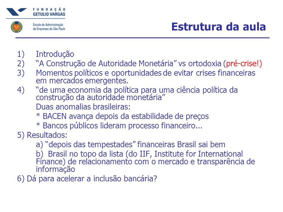 Estrutura da aula 1)Introdução 2)A Construção de Autoridade Monetária vs ortodoxia (pré-crise!) 3)Momentos políticos e oportunidades de evitar crises financeiras em mercados emergentes.