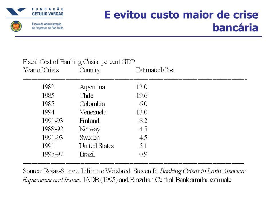 E evitou custo maior de crise bancária