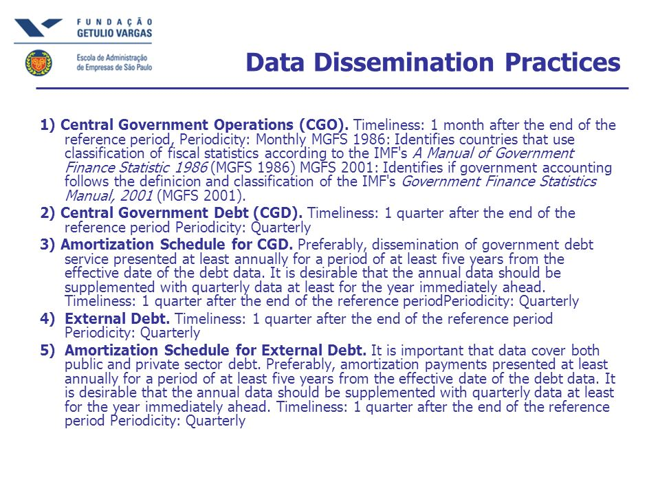 Data Dissemination Practices 1) Central Government Operations (CGO).