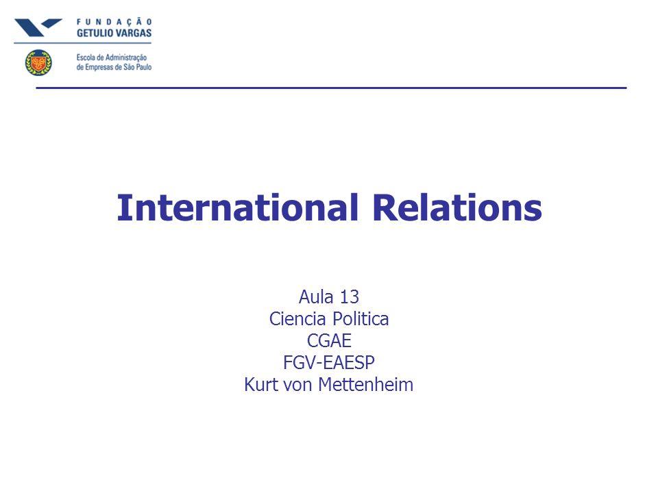 International Relations Aula 13 Ciencia Politica CGAE FGV-EAESP Kurt von Mettenheim