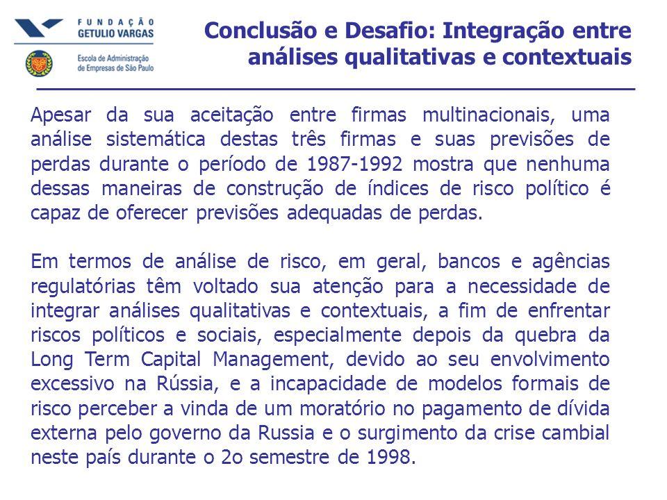 Conclusão e Desafio: Integração entre análises qualitativas e contextuais Apesar da sua aceitação entre firmas multinacionais, uma análise sistemática