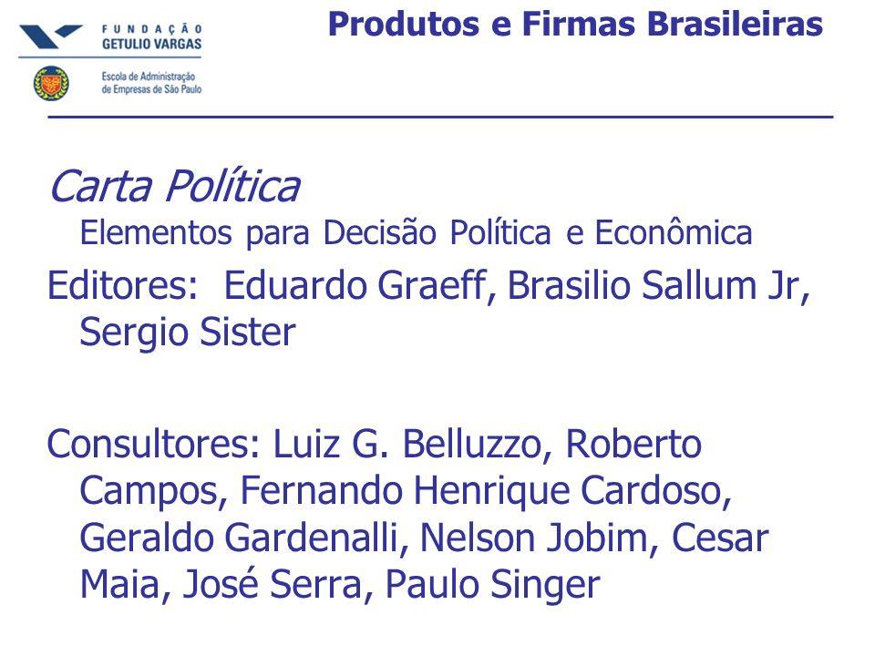Produtos e Firmas Brasileiras Carta Política Elementos para Decisão Política e Econômica Editores: Eduardo Graeff, Brasilio Sallum Jr, Sergio Sister C