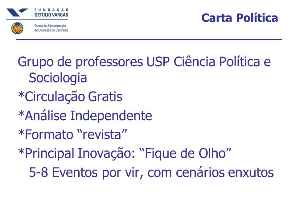 Carta Política Grupo de professores USP Ciência Política e Sociologia *Circulação Gratis *Análise Independente *Formato revista *Principal Inovação: F