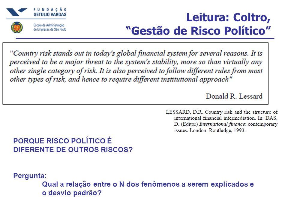 Leitura: Coltro, Gestão de Risco Político PORQUE RISCO POLÍTICO É DIFERENTE DE OUTROS RISCOS? Pergunta: Qual a relação entre o N dos fenômenos a serem